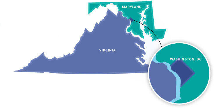 Map of Virginia, Maryland, and DC