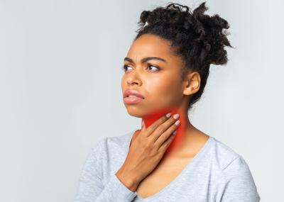 Woman with a thyroid issue