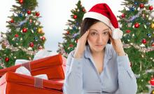Woman showing signs of holiday stress