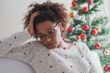 Stressed woman during the holidays