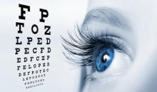 Eye exam chart and a woman's eye
