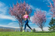 Woman jogging in Spring