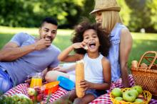 Family enjoying a summer picnic